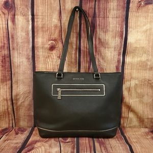 💥 LIKE NEW! MICHAEL KORS Large Black North South Tote Signature Leather Tote